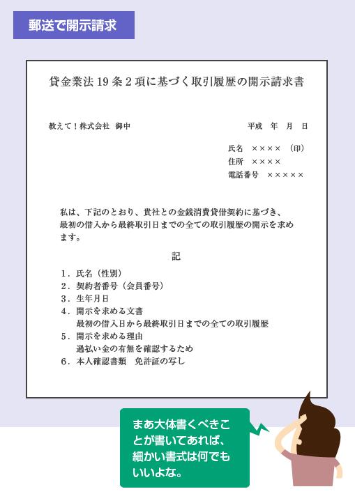 取引履歴開示請求書の記載例-図
