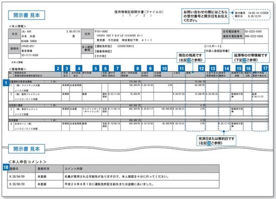 JICCの信用情報記録開示書(ファイルD)の見本