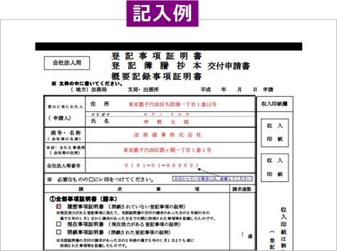 代表者事項証明書の交付申請書-記入例
