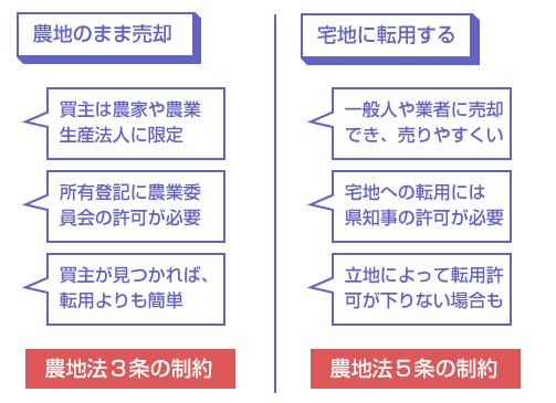 農地の任意売却の2パターンの説明図-(1)農地のまま売却、(2)宅地に転用