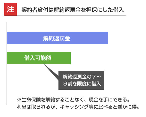 契約者貸付は解約返戻金を担保にした借入-説明図