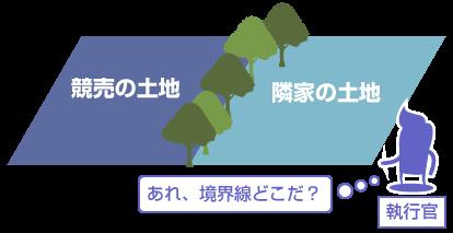 土地の境界線の図