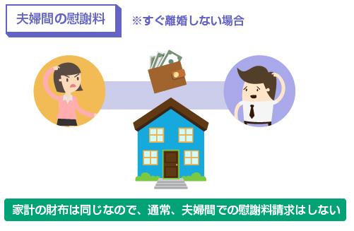 家計の財布は同じなので、通常、夫婦間での慰謝料請求はしない-図