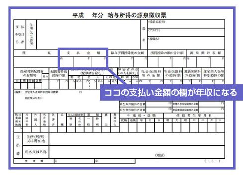 源泉徴収票の支払い金額の欄が年収になる-図