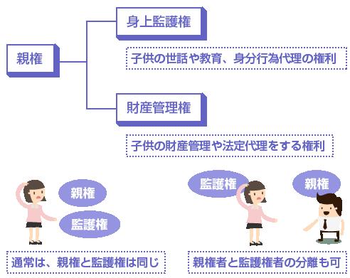 親権と監護権は通常同じだが、父親と母親で親権と監護権を分離することもできる-図