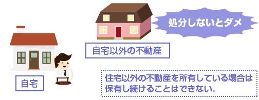 住宅以外の不動産を所有している場合は 保有し続けることはできない。-説明図