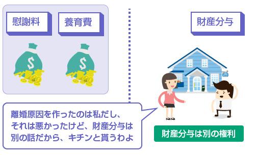 財産分与は、慰謝料や養育費とは全く別の権利-図