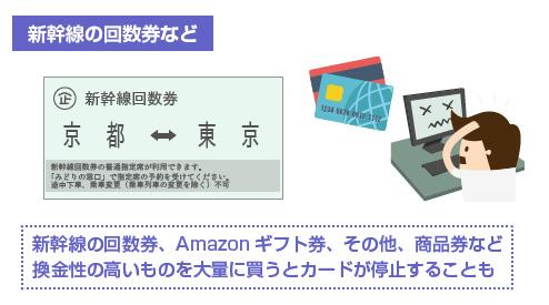 新幹線の回数券、Amazonギフト券、その他、商品券など 換金性の高いものを大量に買うとカードが停止することも-図