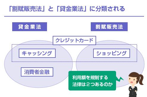 「割賦販売法」と「貸金業法」に分類される-図