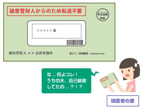 「破産管財人からの郵便のため転送不要」と封筒に赤字で書かれる