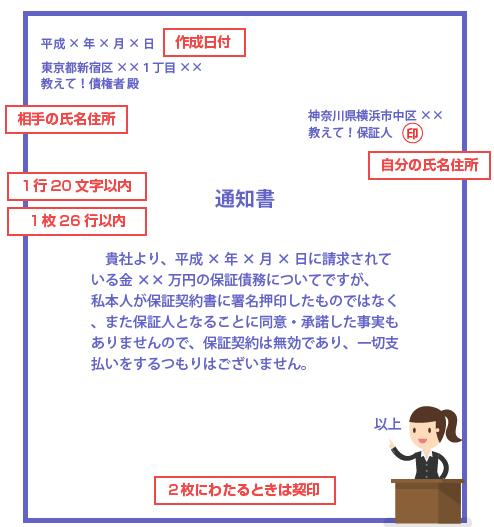 保証債務を否認する内容証明郵便の記載例