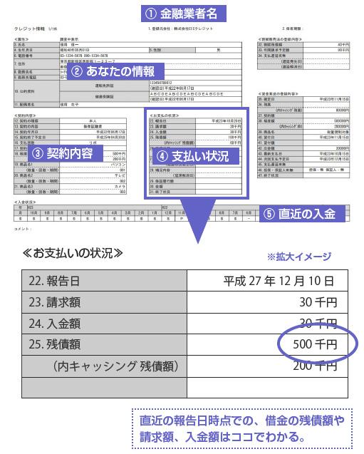 CIC開示書で借金がいくらあるか調べる-図