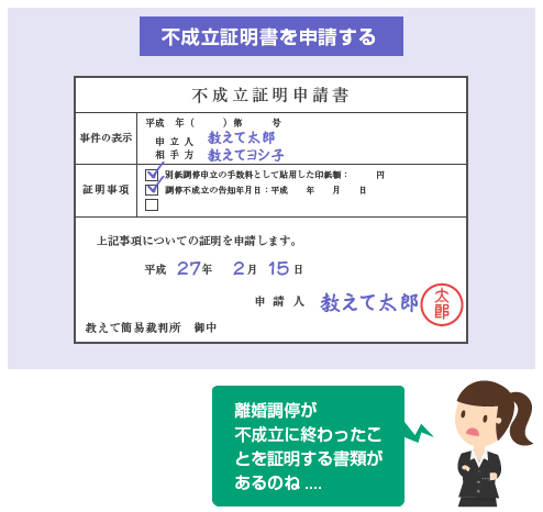 不成立証明書を申請する-図