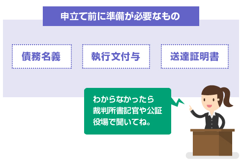 申立て前に準備が必要なもの-債務名義、執行文付与、送達証明書