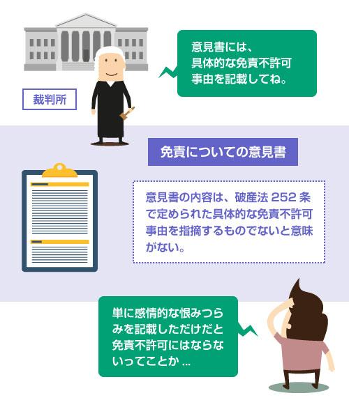 意見書の内容は、破産法252条 で定められた具体的な免責不許可事由を指摘するものでないと意味がない。-説明イラスト