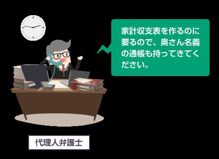 代理人弁護士が「家計収支表を作るのに要るので、奥さん名義の通帳も持ってきてください。」というイラスト