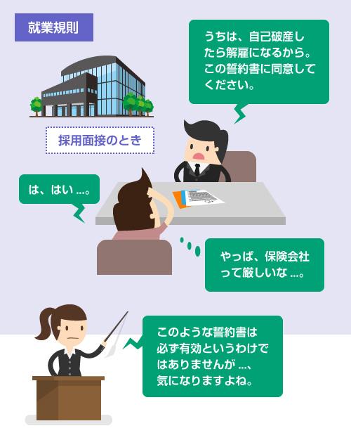 就業規則や誓約書で「自己破産したら解雇」と規定されている場合-説明イラスト