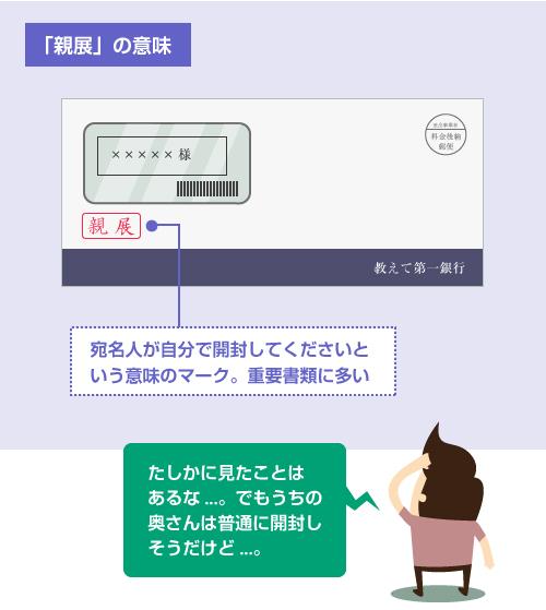 「親展」とは、宛名人が自分で開封してくださいという意味のマーク。重要書類に多い-説明イラスト