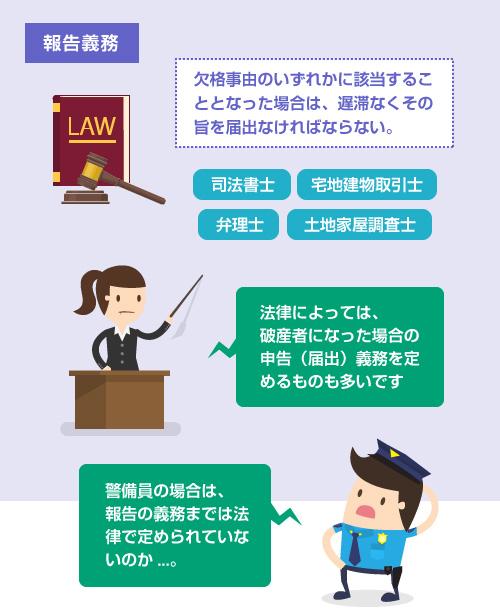 破産者などの欠格事由に該当することになった場合の法律上の報告義務-説明イラスト