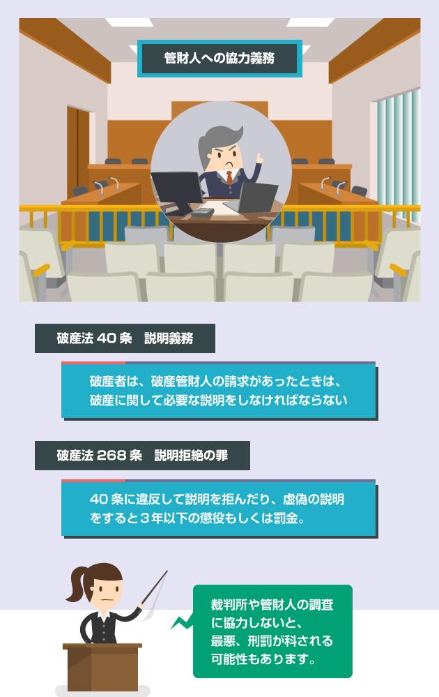 破産法40条(管財人への説明義務)と、破産法268条(管財人への説明拒絶の罪)の説明イラスト